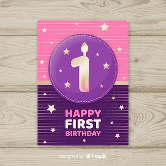 Szablon pierwszej karty urodziny numer złoty