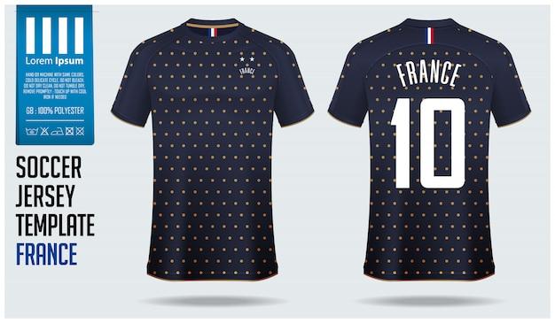 Szablon piłki nożnej koszulka piłkarska francja lub zestaw piłkarski.