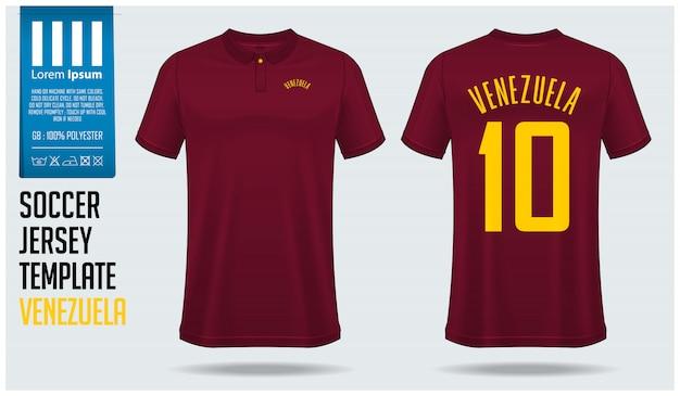 Szablon piłki nożnej koszulki piłkarskiej wenezuela.