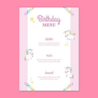 Szablon pionowego menu urodzinowego dla dzieci jednorożca