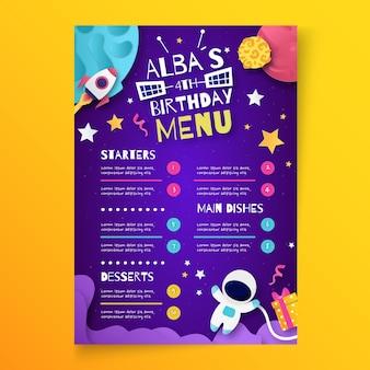 Szablon pionowego menu urodzinowego dla dzieci
