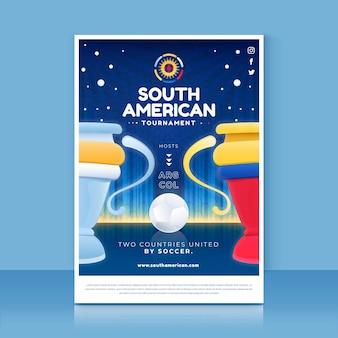 Szablon pionowego plakatu gradientu futbolu południowoamerykańskiego