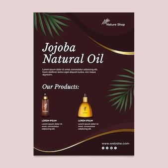 Szablon pionowej ulotki kosmetycznej z olejkiem kosmetycznym