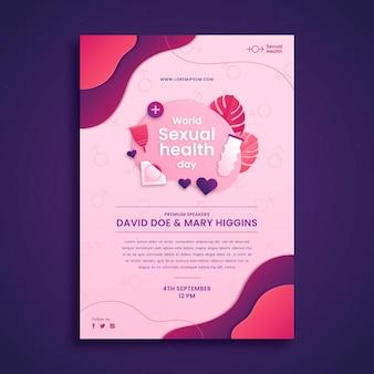 Szablon pionowej ulotki w stylu papierowego światowego dnia zdrowia seksualnego