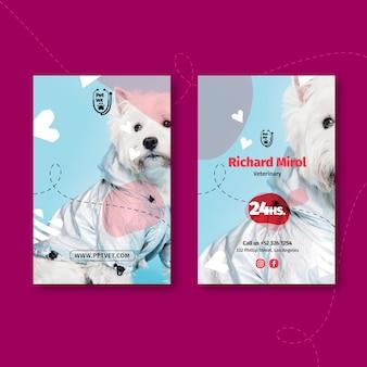 Szablon pionowej wizytówki weterynaryjnej dla zwierząt domowych