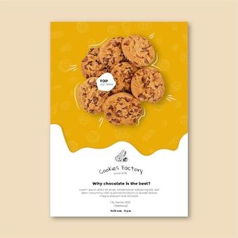 Szablon pionowy ulotki plików cookie