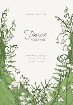 Szablon pionowy z kwitnącymi kwiatami konwalii lub roślinami kwitnącymi i miejscem na tekst. dekoracyjne tło kwiatowy