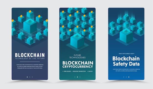 Szablon pionowych banerów z izometryczną ilustracją systemu blockchain kodu binarnego i monet.