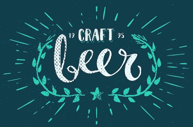 Szablon piwa rzemieślniczego ręcznie rysowane kaligrafia pędzelek
