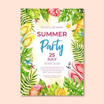 Szablon plakat akwarela lato party