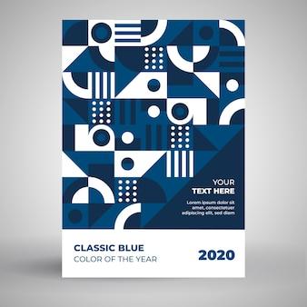 Szablon plakat biały i klasyczny niebieski kształtów