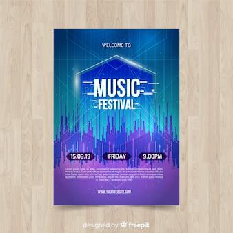 Szablon plakat festiwalu glitch muzyka