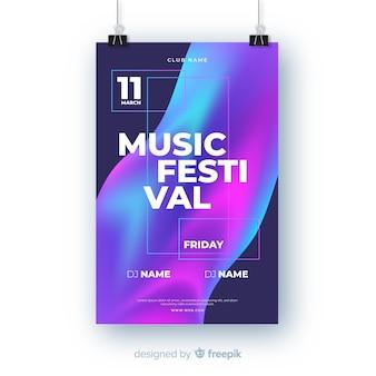 Szablon plakat festiwalu gradientu muzyki