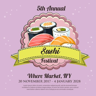 Szablon plakat festiwalu sushi