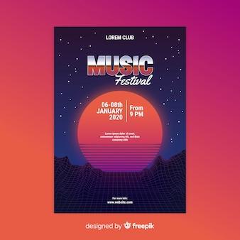 Szablon plakat futurystyczny muzyki