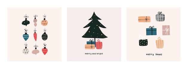 Szablon plakat kartkę z życzeniami świąteczny nastrój. witamy w sezonie zimowym boże narodzenie zaproszenie na wakacje. minimalistyczna pocztówka choinka, prezenty, kulki. ilustracja wektorowa w ręcznie rysowane stylu płaski