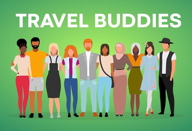 Szablon plakat kumpel podróży. międzynarodowa przyjaźń. broszura, okładka, koncepcja strony broszury z ilustracjami. ludzie wielorasowi. ulotka reklamowa, pomysł na układ bannera