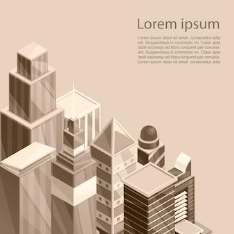 Szablon plakat miasto wieżowce. wektorowa ilustracja stary sepiowy fotograficzny styl