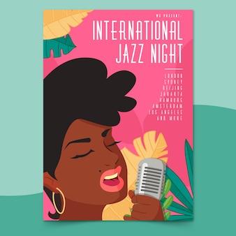 Szablon plakat międzynarodowy dzień jazzowy w płaska konstrukcja