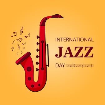 Szablon plakat międzynarodowy dzień jazzowy w premium płaska konstrukcja