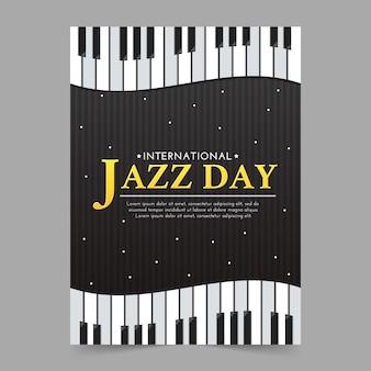 Szablon plakat międzynarodowy dzień jazzowy z fortepianem