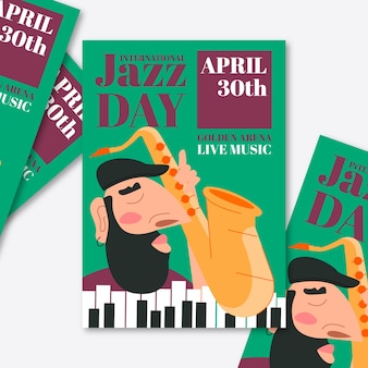 Szablon plakat międzynarodowy dzień jazzowy