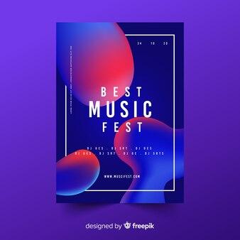 Szablon plakat muzyka efekt płynny