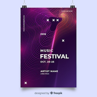 Szablon plakat muzyka fale fioletowy