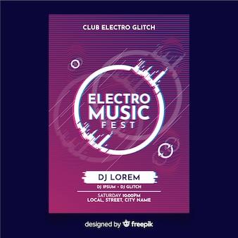 Szablon plakat muzyki elektronicznej z efektem usterki