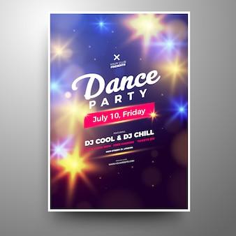 Szablon plakat nowoczesny świecące club party