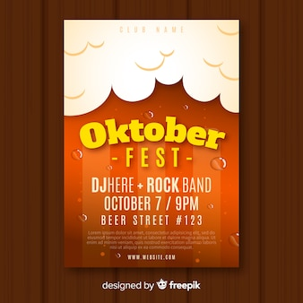 Szablon plakat oktoberfest z płaska konstrukcja
