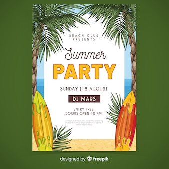 Szablon plakat party lato deski surfingowe