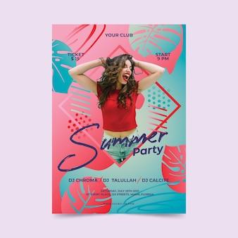 Szablon plakat party lato ze zdjęciem