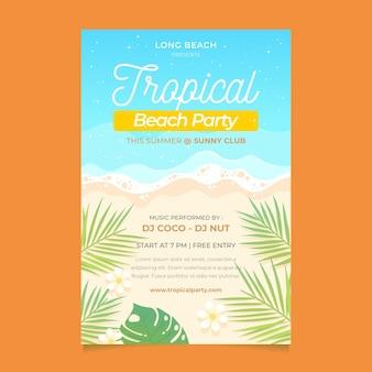 Szablon plakat party tropikalnej plaży