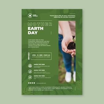Szablon Plakat Pionowy Dzień Matki Ziemi Darmowych Wektorów