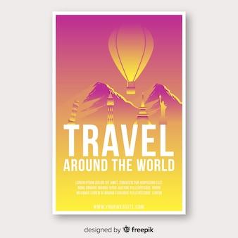 Szablon plakat podróż balon na gorące powietrze