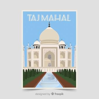 Szablon Plakat Promocyjny Taj Mahal Darmowych Wektorów