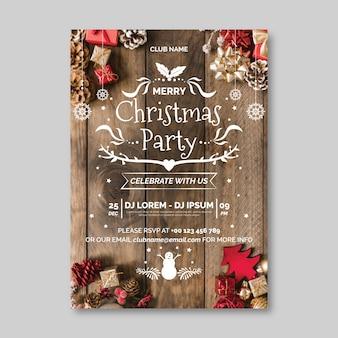 Szablon plakat przyjęcie świąteczne z obrazem