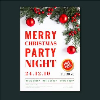 Szablon plakat przyjęcie świąteczne ze zdjęciem