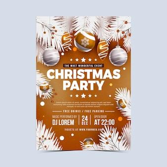 Szablon plakat realistyczne przyjęcie świąteczne