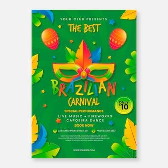 Szablon plakat realistyczny karnawał brazylijski