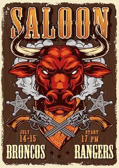 Szablon plakat reklamowy salon dziki zachód