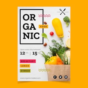 Szablon plakat restauracja zdrowej żywności ze zdjęciem