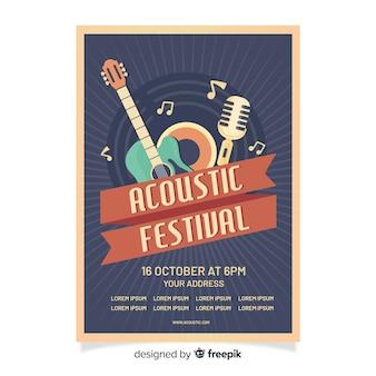 Szablon plakat retro festiwal akustyczny