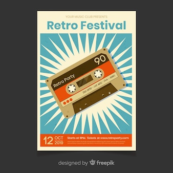 Szablon plakat retro festiwal muzyki