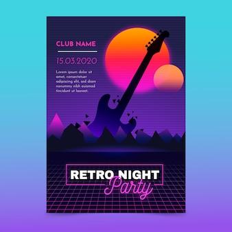 Szablon plakat retro futurystycznej muzyki