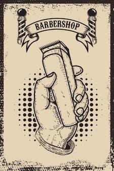 Szablon plakat sklep fryzjer. ludzką ręką z maszynką do strzyżenia włosów. element karty, ulotka. ilustracja