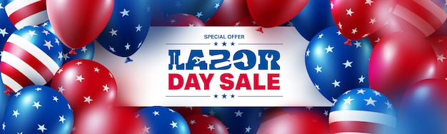 Szablon plakat sprzedaż dzień pracy. obchody święta pracy usa z wielu amerykańskich balonów flaga.