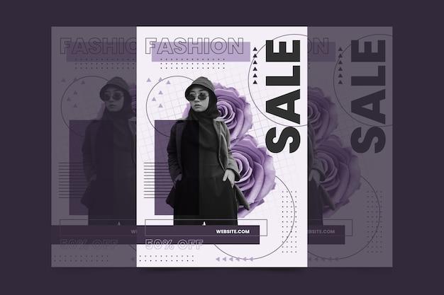 Szablon plakat sprzedaż moda z modelem