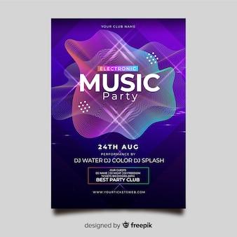 Szablon plakat streszczenie muzyki elektronicznej